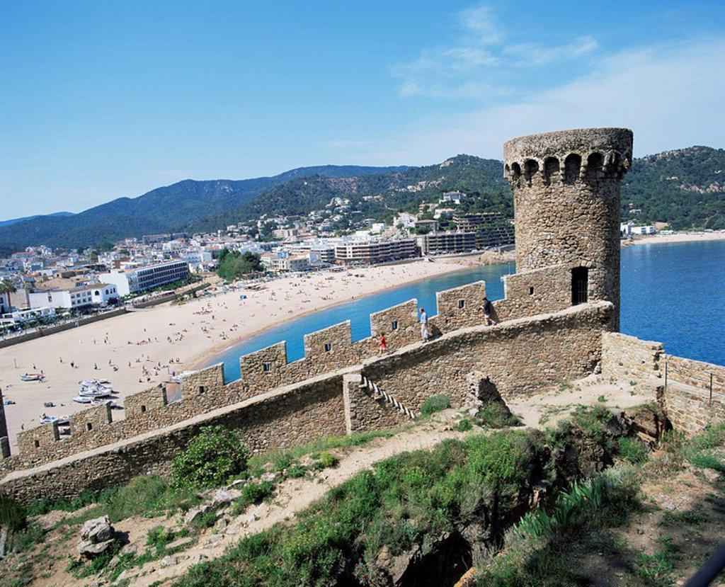 Stock Photo: 1890-20755 Mont Guardi battlements and beach beyond, Tossa de Mar, Costa Brava, Catalonia, Spain, Mediterranean, Europe