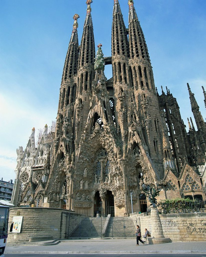 The Sagrada Familia, the Gaudi cathedral in Barcelona, Cataluna, Spain, Europe : Stock Photo
