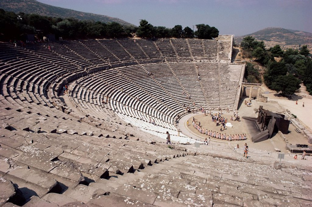 Stock Photo: 1890-20893 Restored theatre, Epidaurus, UNESCO World Heritage Site, Greece, Europe