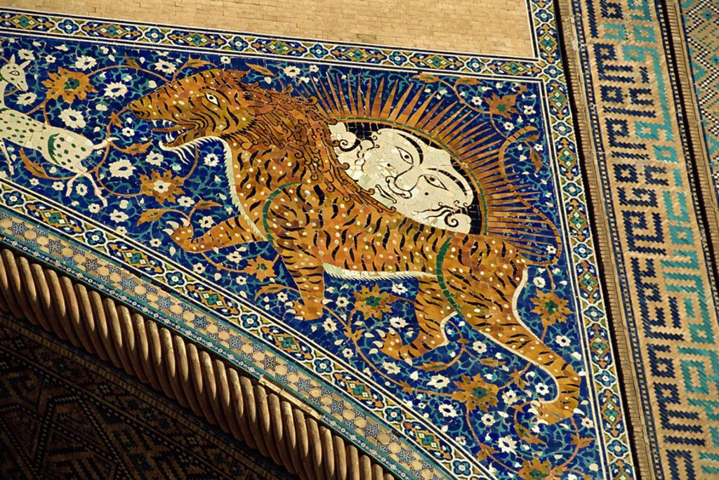Stock Photo: 1890-20960 Lion decoration on portal of the 17th century Sher Dor Madressa, Registan Square, Samarkand, Uzbekistan, Central Asia, Asia