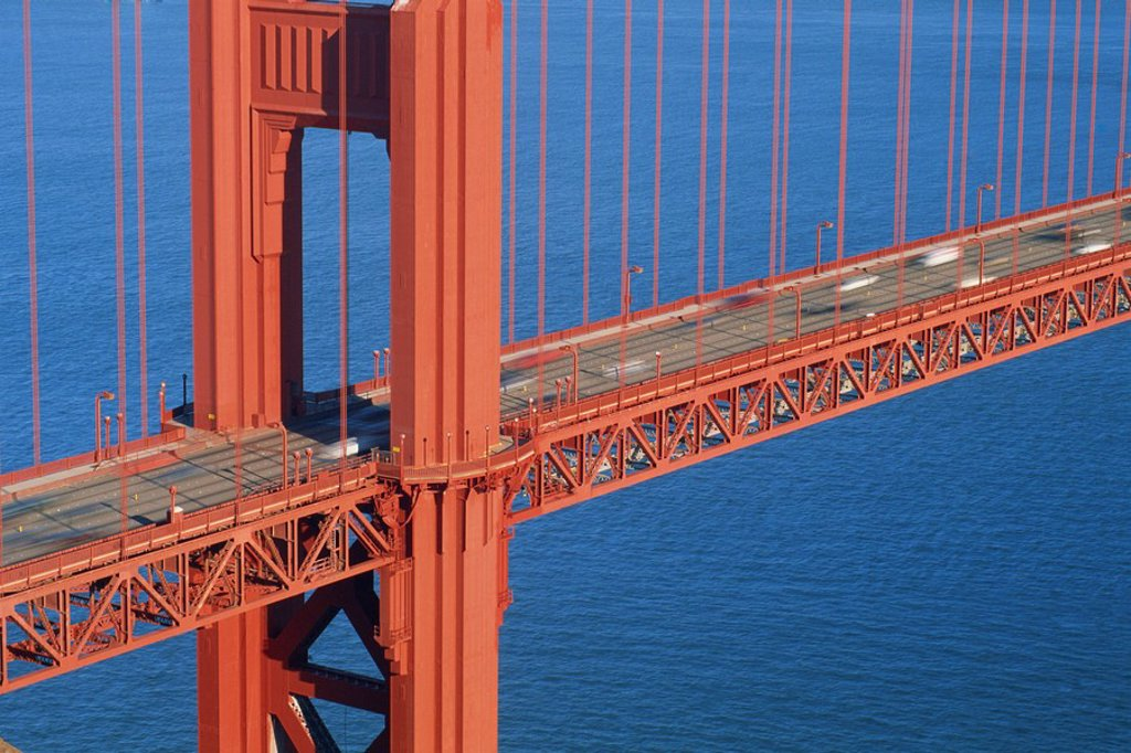 Close_up of traffic crossing the Golden Gate Bridge, San Francisco, California, United States of America, North America : Stock Photo