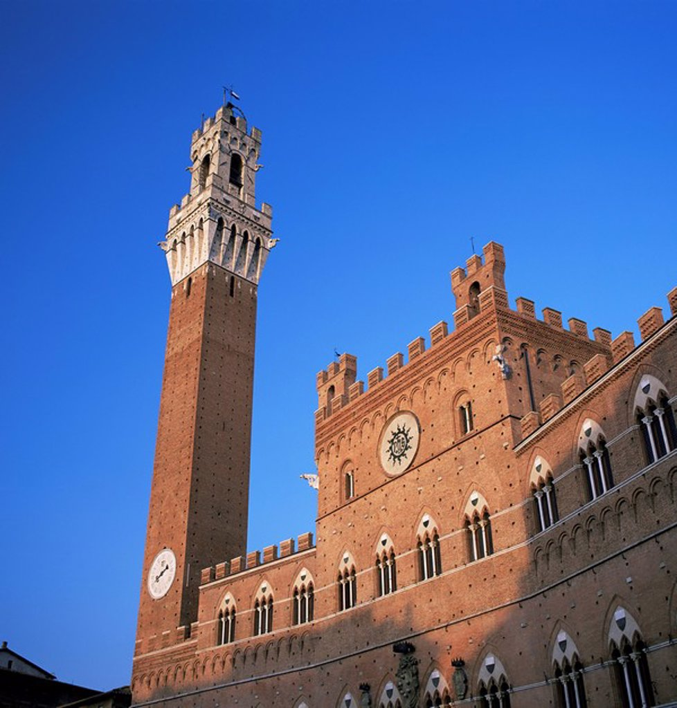 Stock Photo: 1890-21297 The Torre del Mangia and Palazzo Pubblico, Siena, Tuscany, Italy, Europe