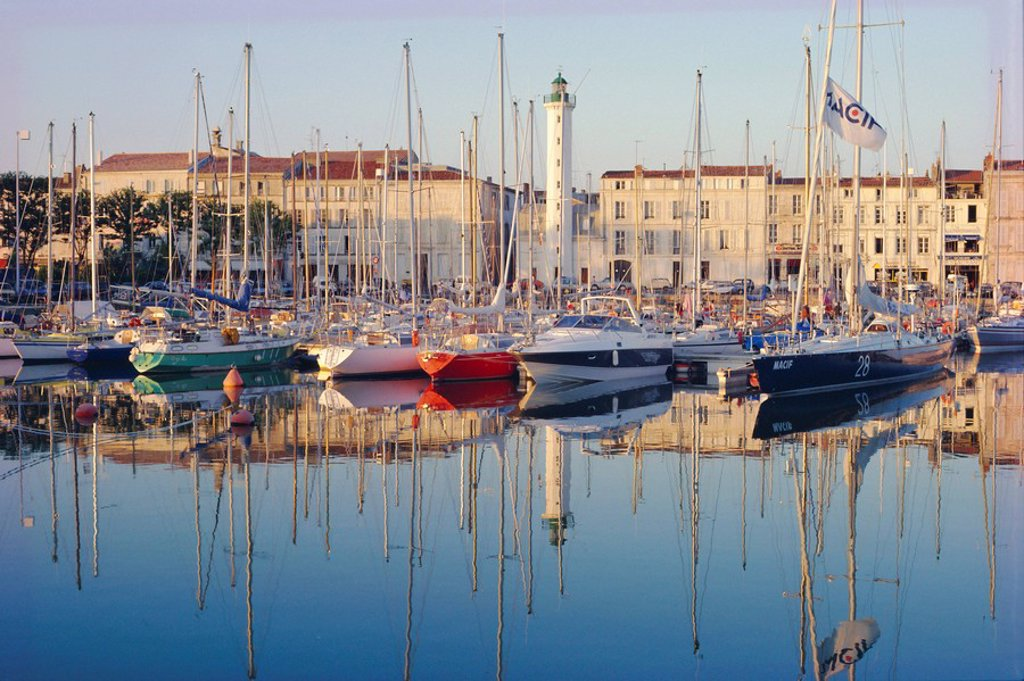 Stock Photo: 1890-21544 The harbour in the evening, La Rochelle, Poitou_Charentes, France, Europe