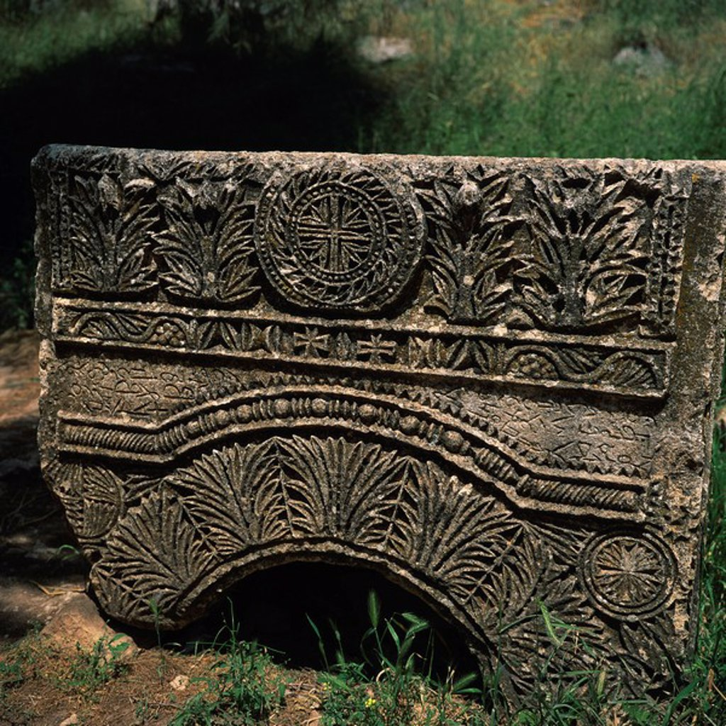 Close_up of Christian carvings on architectural remains at the cruciform church at St. Simeon, dating from between 476 and 491, Dead City region, northern Syria, Middle East : Stock Photo