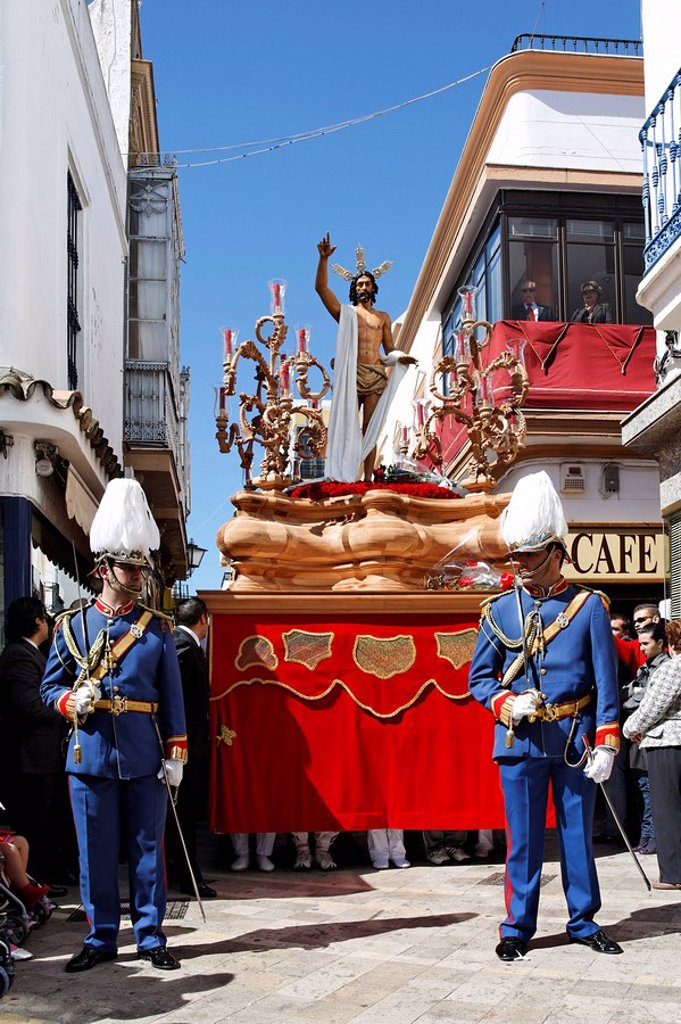 Stock Photo: 1890-22109 Float of resurrected Jesus, Easter Sunday procession at the end of Semana Santa Holy Week, Ayamonte, Andalucia, Spain, Europe