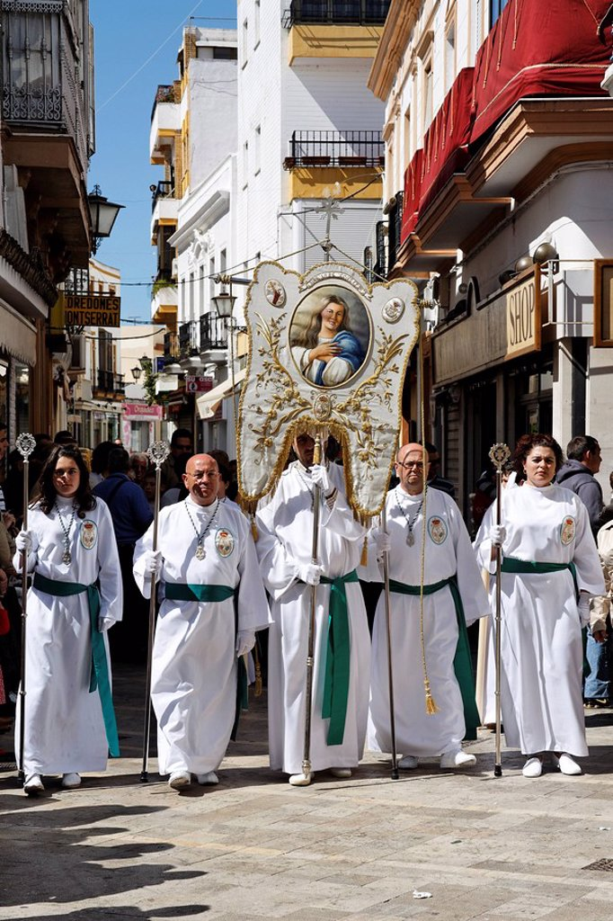 Stock Photo: 1890-22110 Float of the Virgin Mary, Easter Sunday procession at the end of Semana Santa Holy Week, Ayamonte, Andalucia, Spain, Europe