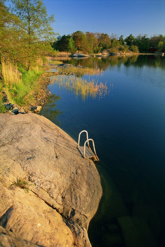 Steps placed beside lake to help bathers, Rosenon Island, near Dalaro, Sweden, Scandinavia, Europe : Stock Photo