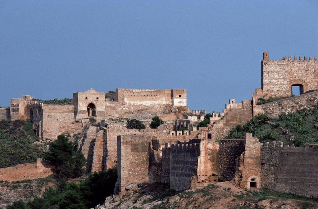 Stock Photo: 1890-22965 Sagunto, dating from 218 BC, besieged by Hannibal, Arab fort built over earlier acropolis, Valencia, Spain, Europe