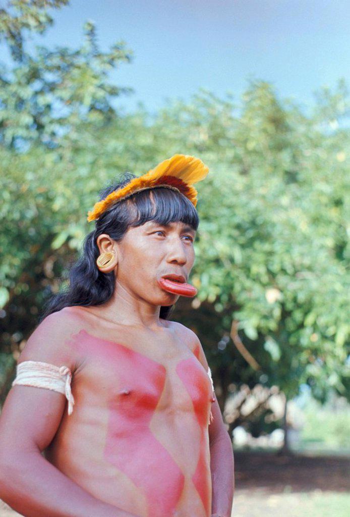 Stock Photo: 1890-23105 Suya Indian man with lip plate, Xingu, Brazil, South America 1971