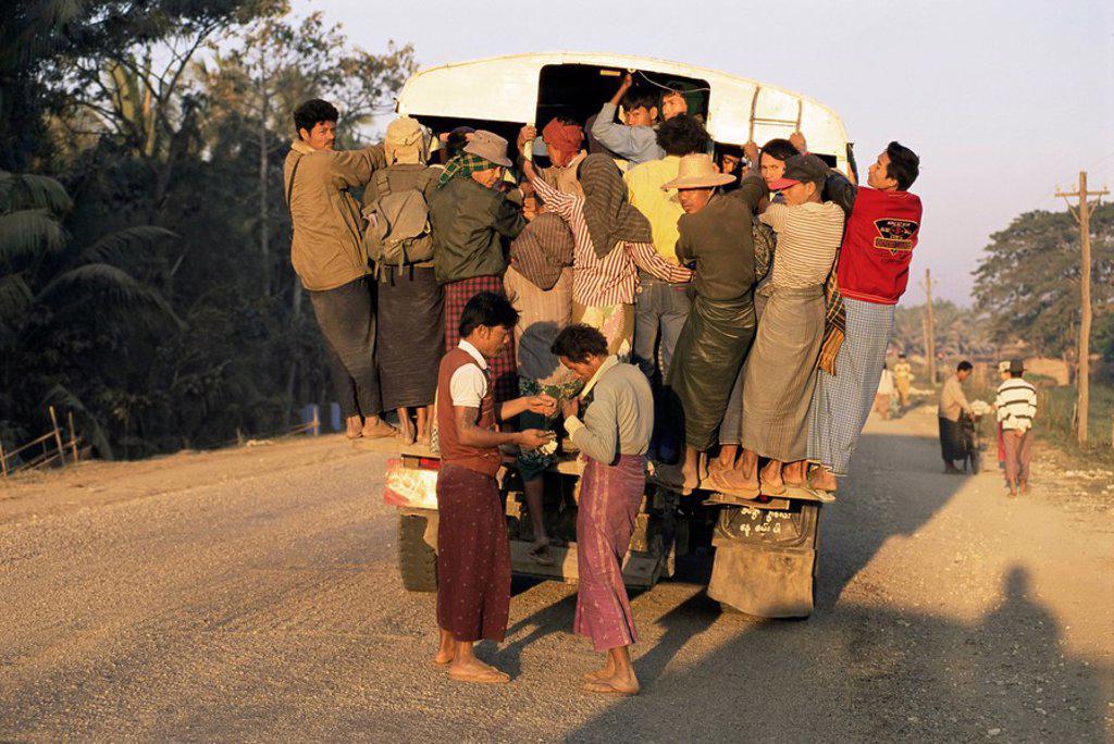 Overcrowded bus, Ayeyarwady Delta, near Yandoon, Myanmar Burma, Asia : Stock Photo