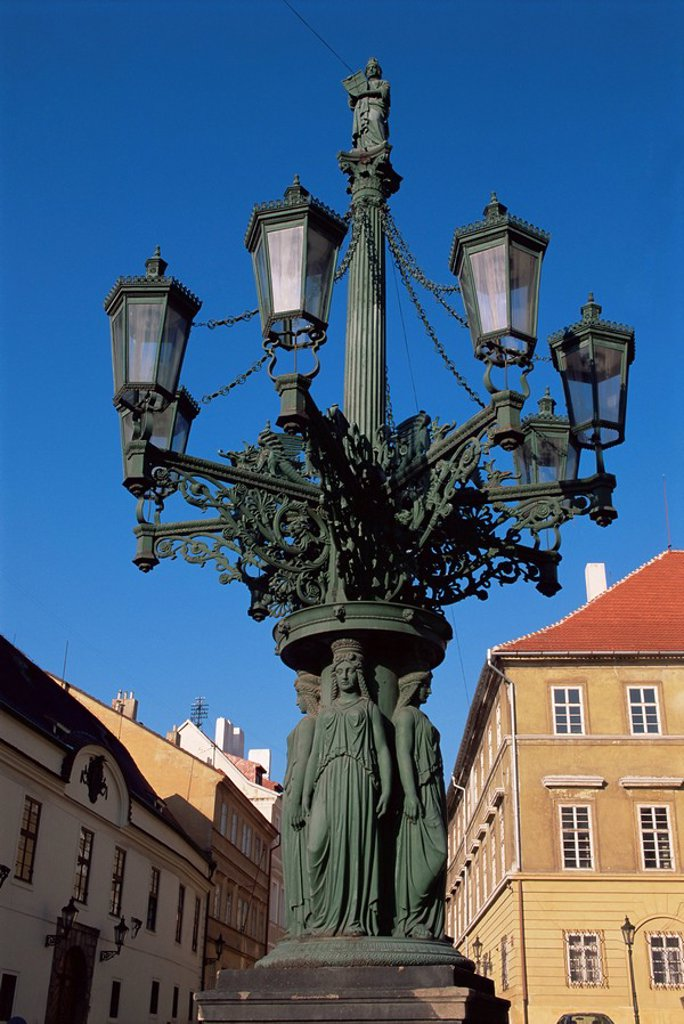 Stock Photo: 1890-23551 Elaborate lamp post, Hradcany, Prague, Czech Republic, Europe