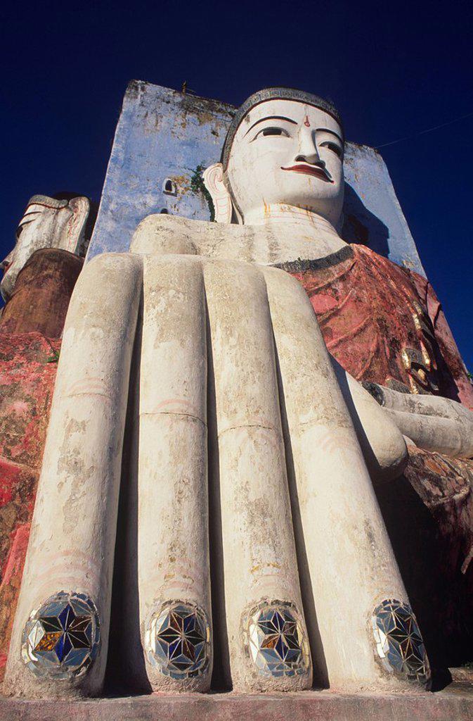 Stock Photo: 1890-23650 The Kyaik Pun, one of four Buddhas, near Bago, Myanmar Burma, Asia