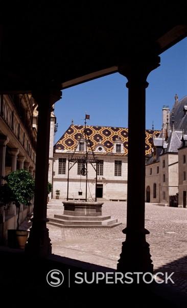 Hotel Dieu Hospital of God, Beaune, Burgundy, France, Europe : Stock Photo
