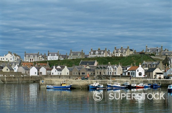 Fishing boats with creels at anchor in harbour at Findochty, Grampian, Scotland, United Kingdom, Europe : Stock Photo