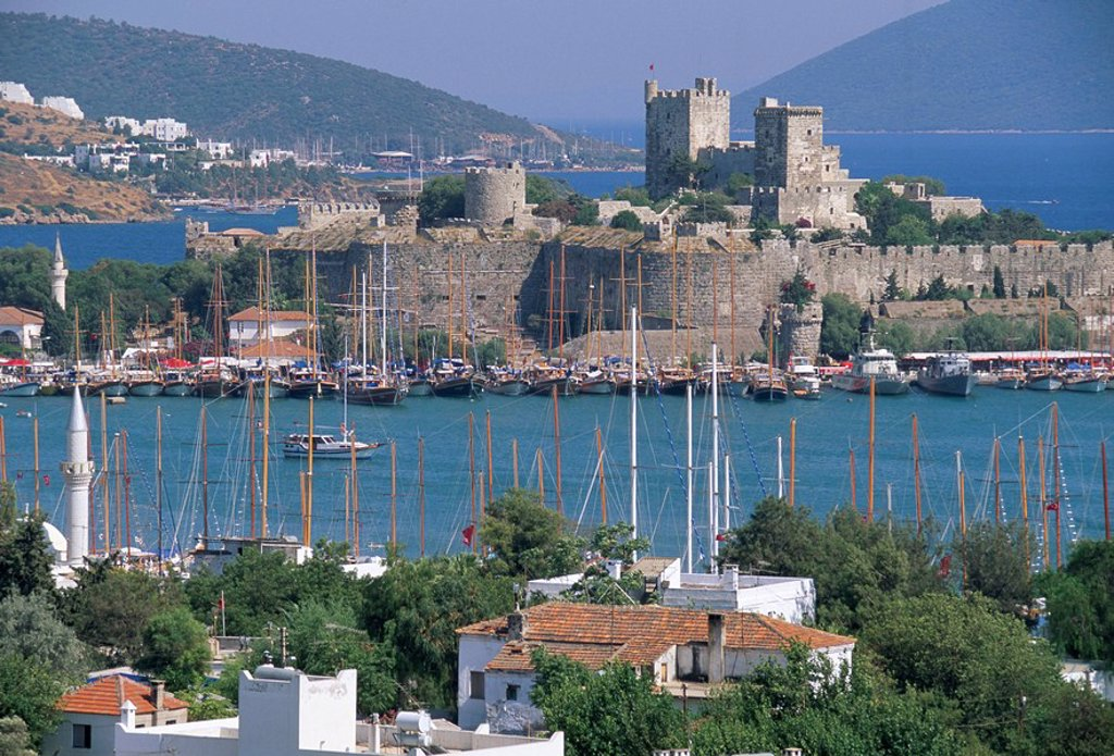 Bodrum and Bodrum Castle, Anatolia, Turkey, Asia Minor, Asia : Stock Photo