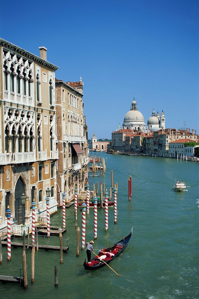 Stock Photo: 1890-24954 Gondolas on the Grand Canal with Santa Maria Della Salute church in the background, Venice, UNESCO World heritage Site, Veneto, Italy, Europe