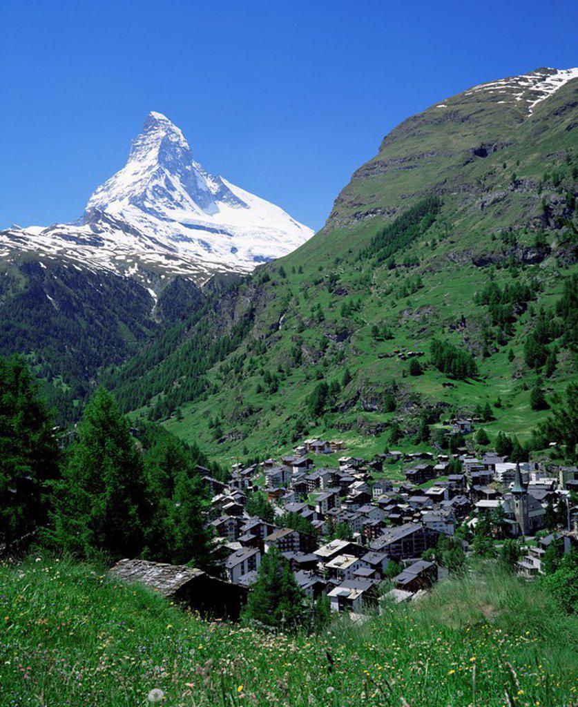 Stock Photo: 1890-25812 Zermatt and the Matterhorn, Swiss Alps, Switzerland, Europe