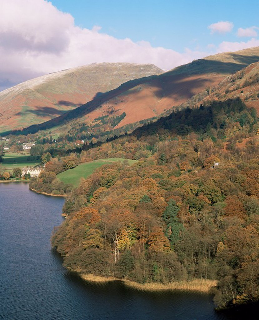 Grasmere in autumn, Lake District National Park, Cumbria, England, United Kingdom, Europe : Stock Photo