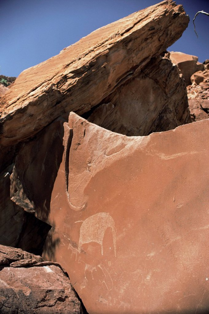 Rock engravings, Twyfelfontein, Damaraland, Namibia, Africa : Stock Photo