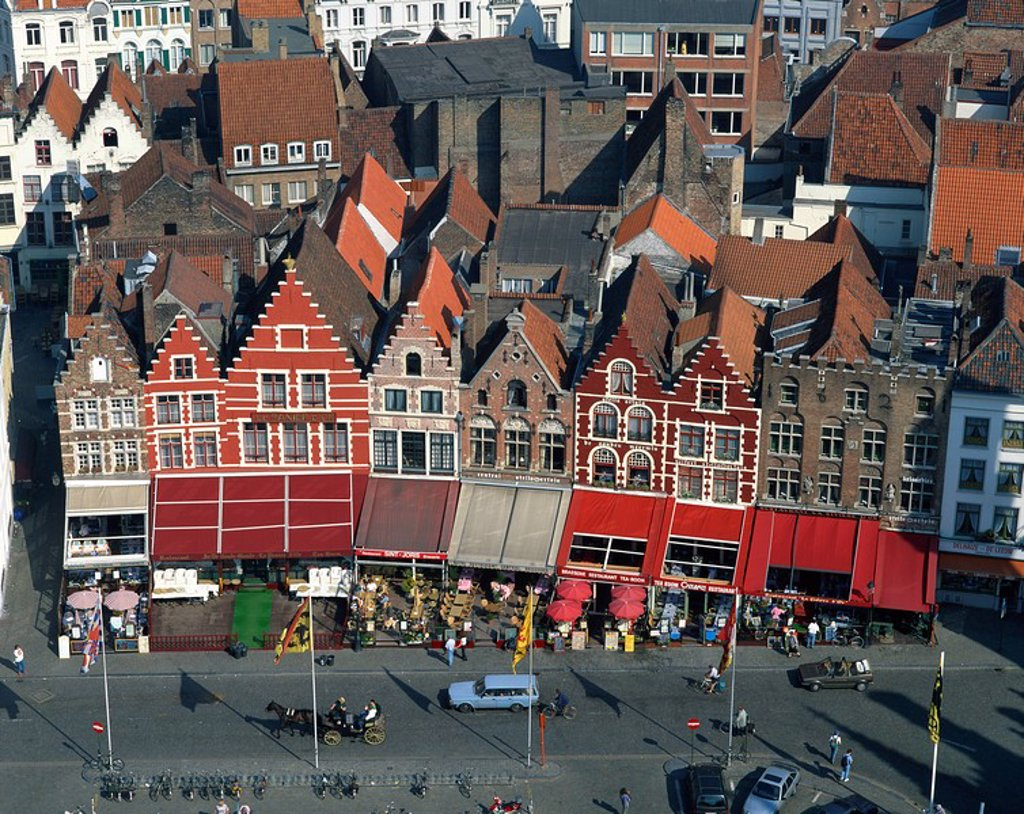 Aerial view of cafe facades, Market Square, Bruges, Belgium, Europe : Stock Photo