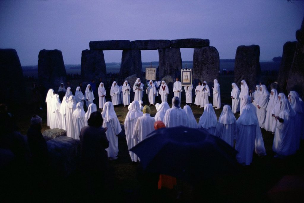 Druids at Stonehenge, Wiltshire, England, United Kingdom, Europe : Stock Photo