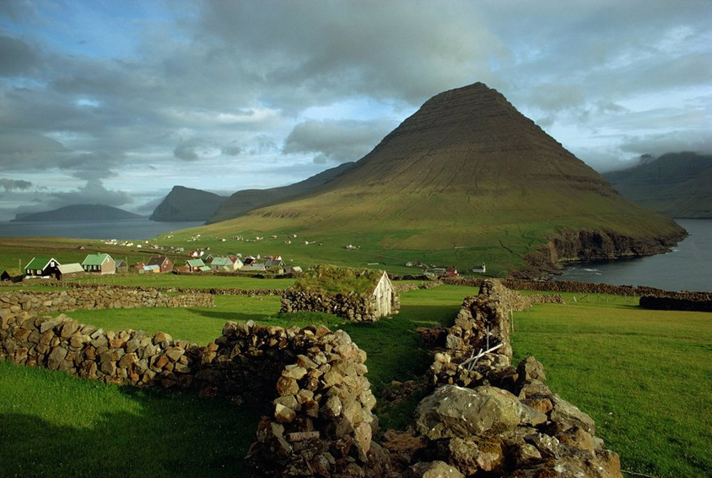 Stock Photo: 1890-26873 Landscape containing dry stone walls and a small settlement, Faroe Islands, Denmark, Europe