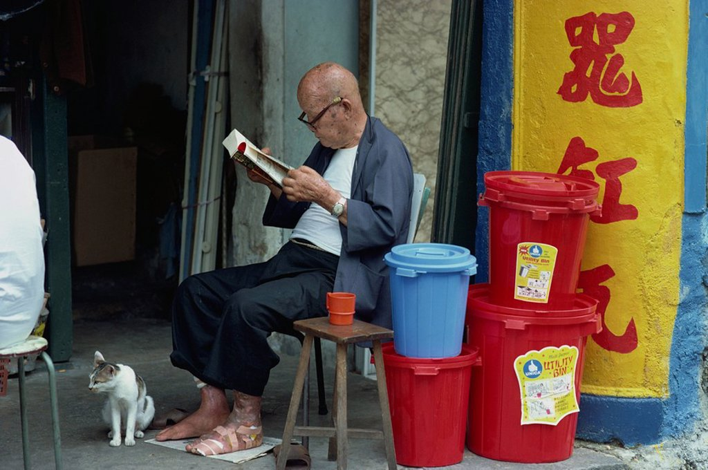 Portrait of an elderly man with bandaged foot, wearing spectacles and reading a book, sitting with his cat beside a pile of plastic bins, in Singapore, Southeast Asia, Asia : Stock Photo