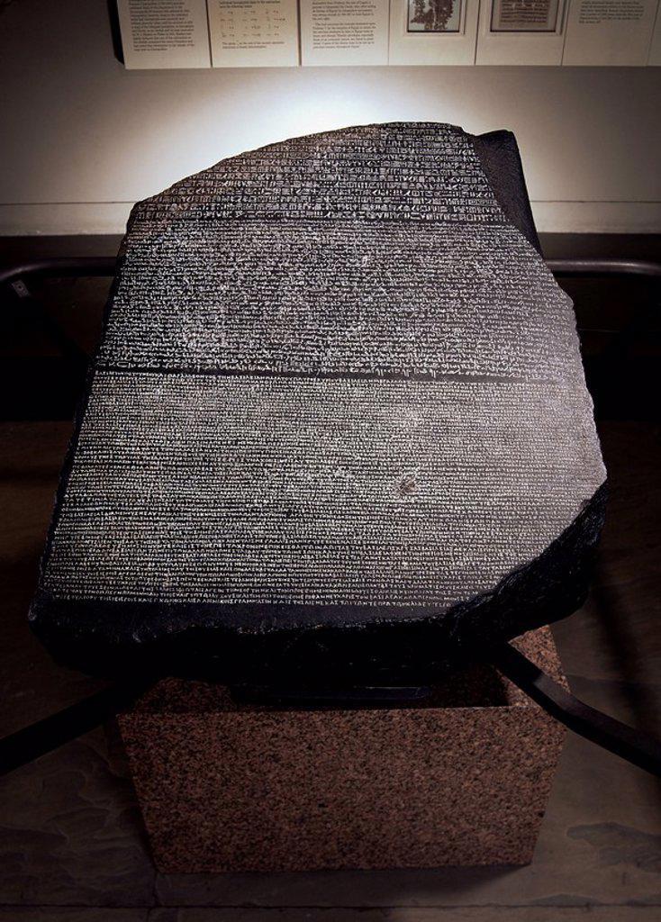Stock Photo: 1890-26971 The Rosetta Stone, British Museum, London, England, United Kingdom, Europe