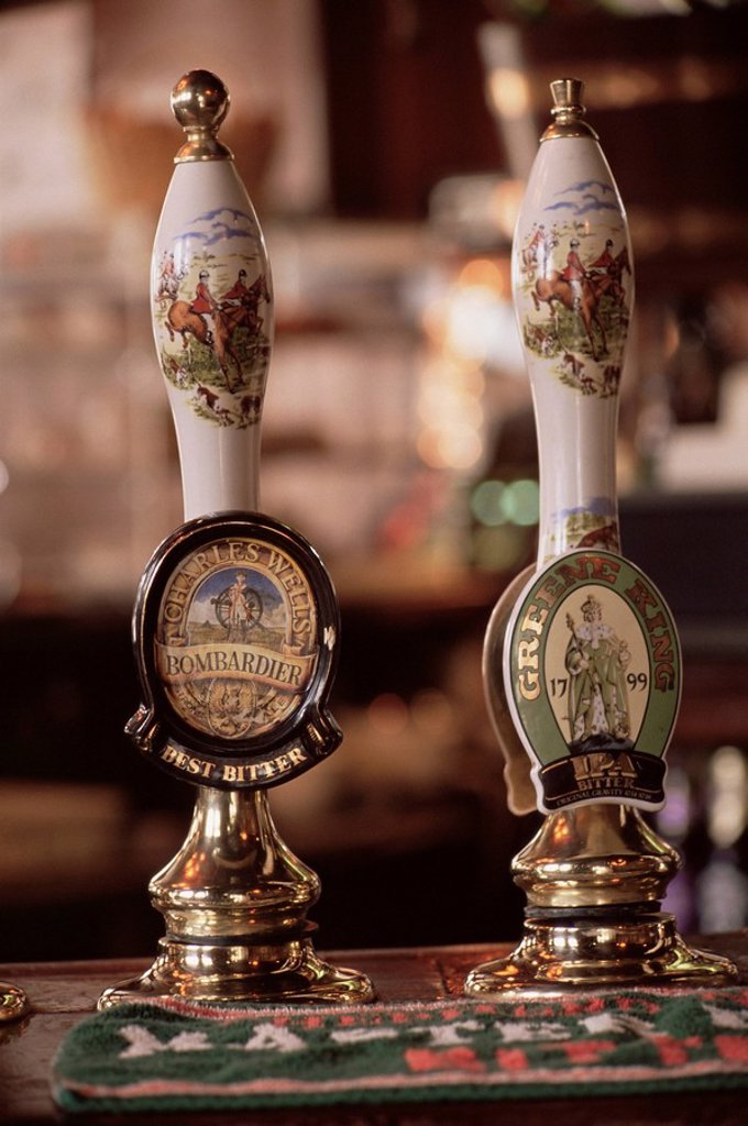 Stock Photo: 1890-27178 Beer pumps, Sun Pub, London, England, United Kingdom, Europe