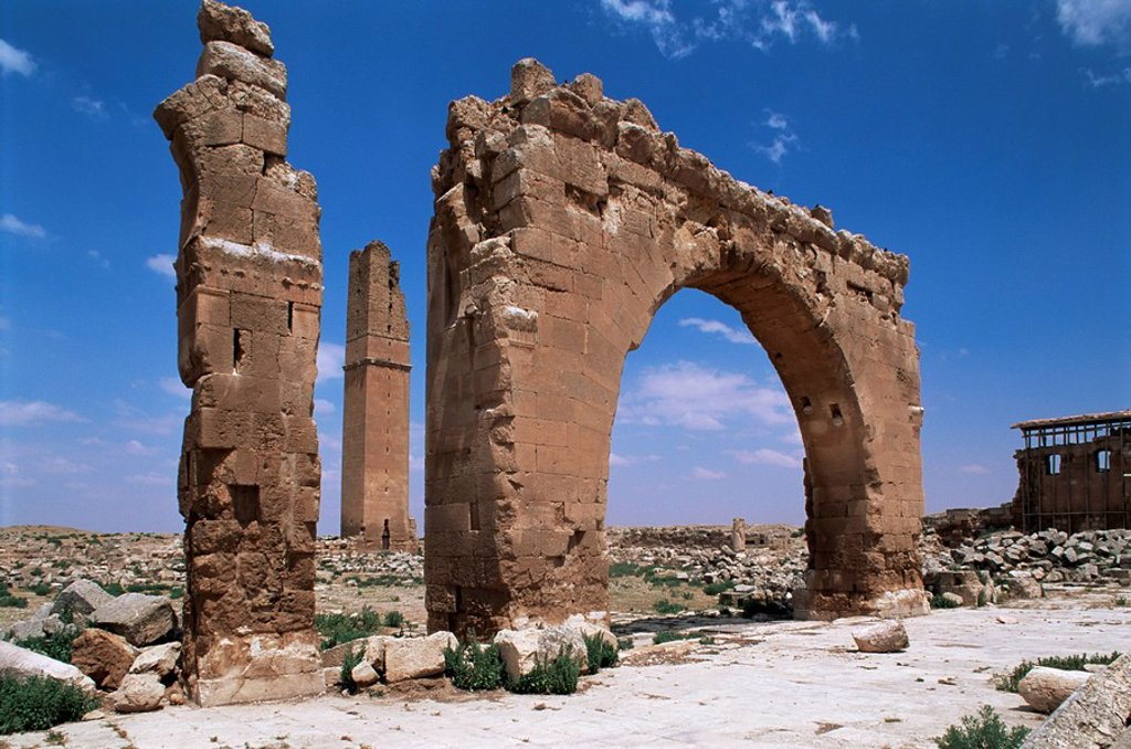 Stock Photo: 1890-27264 Tower and arch on the site of the Temple of Sin God of the Moon, Harran, Anatolia, Turkey, Asia Minor, Eurasia