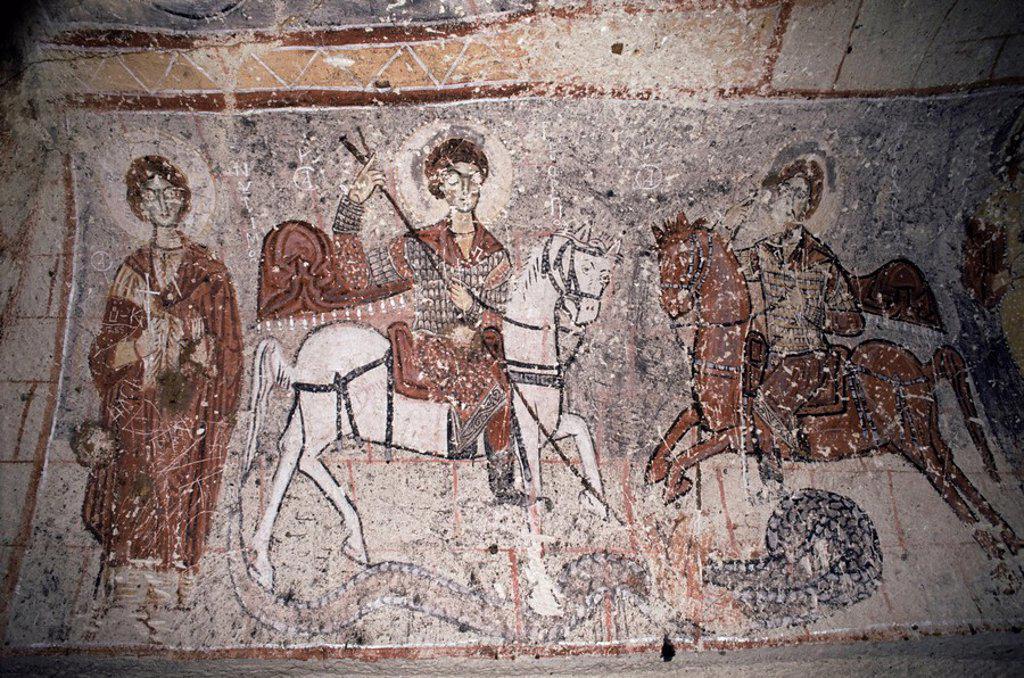 Fresco in Church of the Serpent, figure could be St. George, Goreme, Cappadocia, Anatolia, Turkey, Asia Minor, Eurasia : Stock Photo