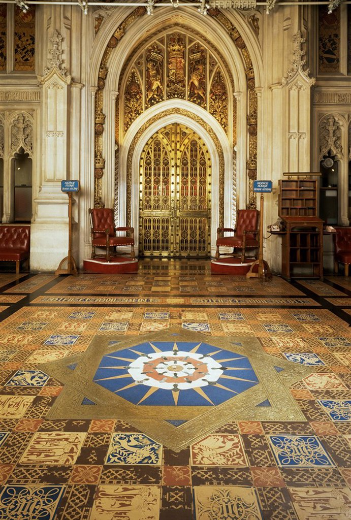 Stock Photo: 1890-27335 Peers lobby, House of Lords, Houses of Parliament, Westminster, London, England, United Kingdom, Europe