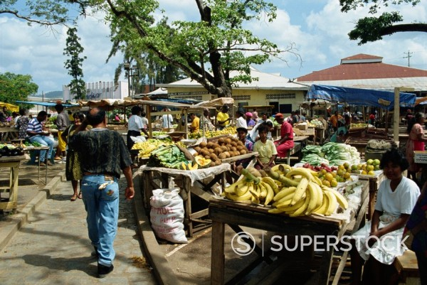 Market, Arima, Trinidad, West Indies, Caribbean, Central America : Stock Photo