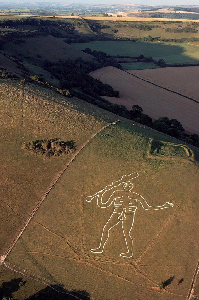 Stock Photo: 1890-27443 Aerial view of the Cerne Abbas giant, Dorset, England, United Kingdom, Europe