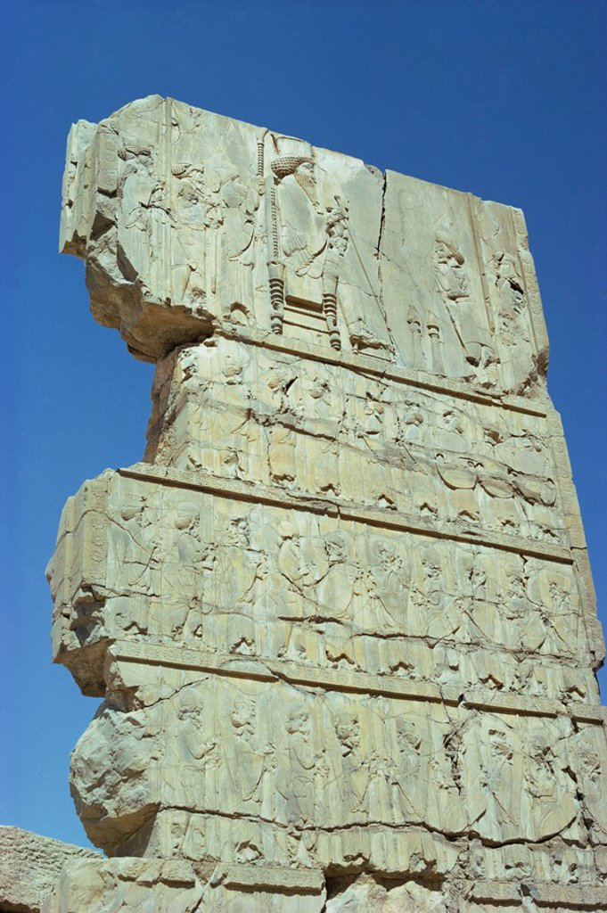 Frieze with king and tribute, Persepolis, UNESCO World Heritage Site, Iran, Middle East : Stock Photo