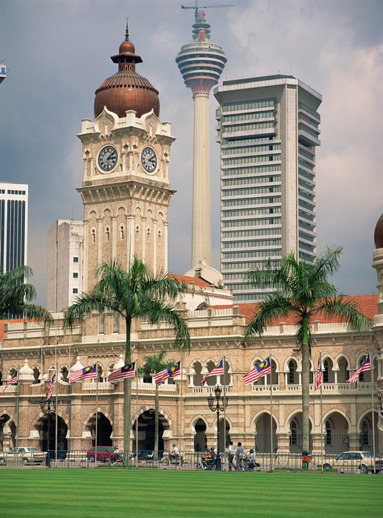 Sultan Abdul Samad Building and the KL Tower in the city of Kuala Lumpur, Malaysia, Southeast Asia, Asia : Stock Photo