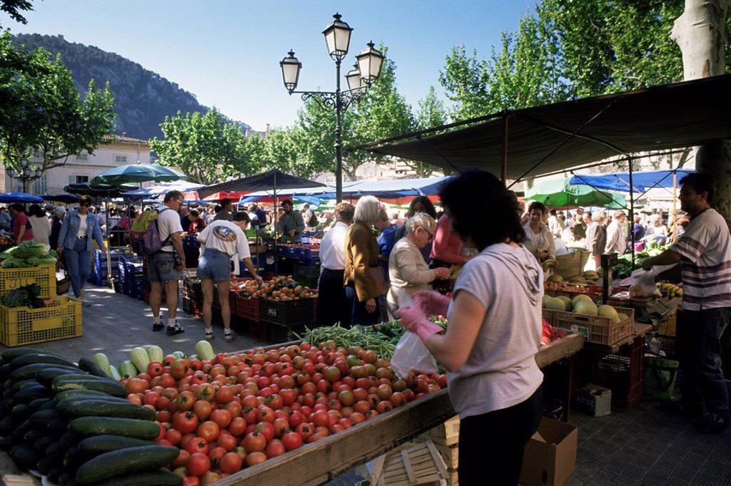 Market, Pollensa, Majorca, Balearic Islands, Spain, Europe : Stock Photo