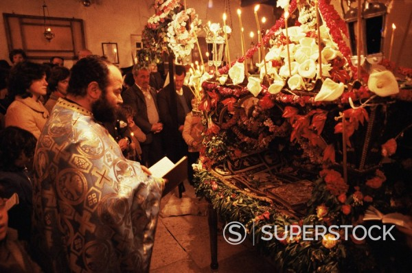 Good Friday, Easter 1984, island of Naxos, Cyclades, Greece, Europe : Stock Photo