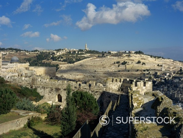 Stock Photo: 1890-28769 View of Mount of Olives, Jerusalem, Israel, Middle East