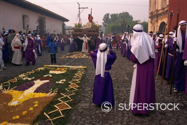 Stock Photo: 1890-28885 Christ´s Calvary in Good Friday procession over street carpet, Antigua, Western Highlands, Guatemala, Central America