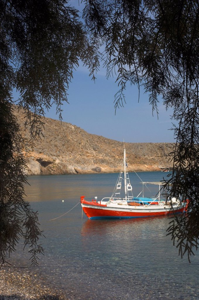 Colourful fishing boat on sea, Kato Zakro, east coast, Crete, Greek Islands, Greece, Europe : Stock Photo