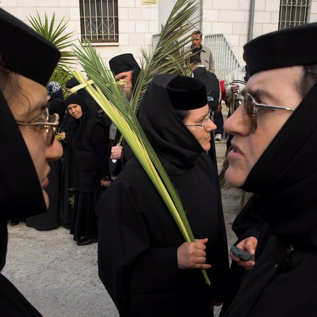 Three Greek nuns holding palms during Orthodox Easter Palm procession from Betphage to the Old City, Mount of Olives, Jerusalem, Israel, Middle East : Stock Photo