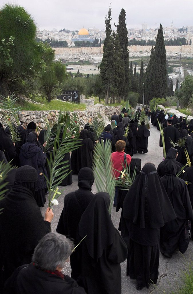 Orthodox Easter Palm procession from Betphage to the Old City walking down the Mount of Olives towards Old City, Jerusalem, Israel, Middle East : Stock Photo