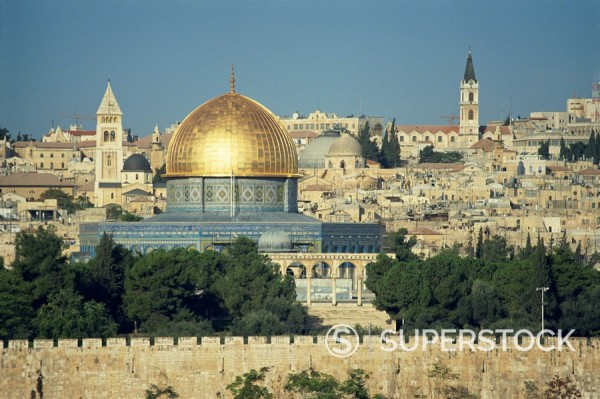 Stock Photo: 1890-29426 Dome of the Rock and Temple Mount from Mount of Olives, UNESCO World Heritage Site, Jerusalem, Israel, Middle East