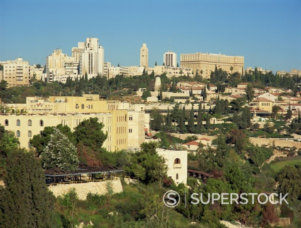 View onto Yemin Moshe and skyline, Jerusalem, Israel, Middle East : Stock Photo