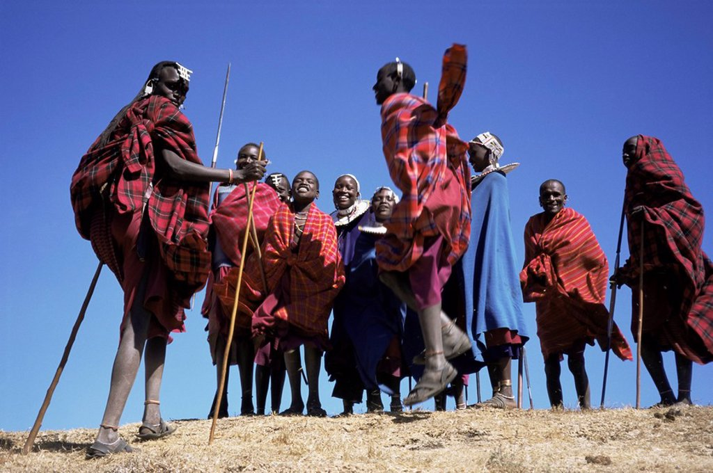 Stock Photo: 1890-29844 Masai warriors performing jumping dance, Serengeti Park, Tanzania, East Africa, Africa