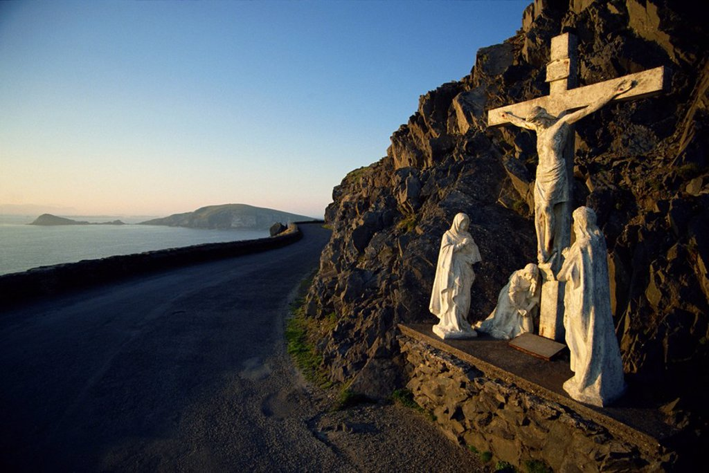 Stock Photo: 1890-29845 Calvary of Christ roadside shrine, Slea Head, County Kerry, Munster, Republic of Ireland, Europe