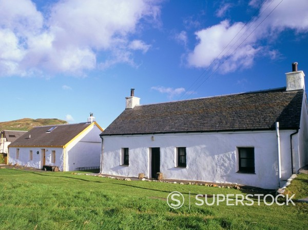 Stock Photo: 1890-29918 Quarriers´ cottages, two of the many white slate_roofed cottages indicative of the slate industry from 1745 to 1881, Easdale Island, Argyll and Bute, Scotland, United Kingdom, Europe