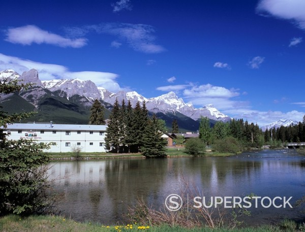 Policeman´s Creek from Main Street in downtown Canmore, Bow Valley area, Rocky Mountains, Alberta, Canada, North America : Stock Photo