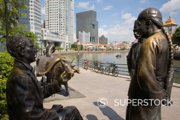 Stock Photo: 1890-30074 River Merchants, bronze sculpture by Aw Tee Hong depicting city´s historic development, on river bank, Boat Quay Conservation Area, Central area, Singapore, Southeast Asia, Asia
